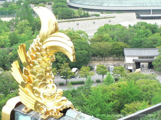 fish symbol on the roof of Osaka Castle