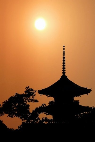 Sunset on Kiyoumizu Temple, Kyoto